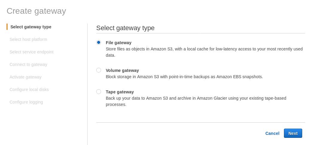 AWS Storage Gateway: Creating a File gateway
