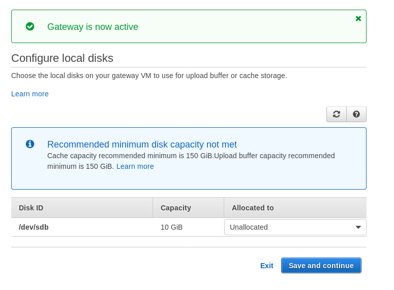AWS Storage Gateway: Volume gateway local disks configuration
