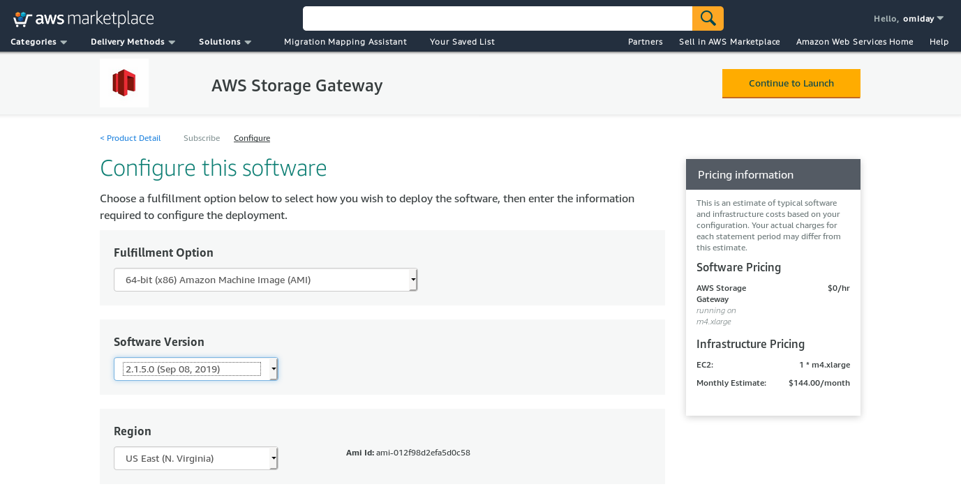 AWS Storage Gateway: Volume gateway Amazon Marketplace --- Software details
