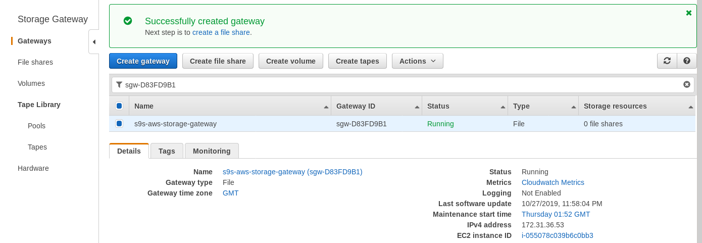 AWS Storage Gateway: Gateway screen Viorel Tabara Viorel Tabara 12:36 AM Yesterday AWS Storage Gateway: File gateway EC2 setup wizard Viorel Tabara Viorel Tabara 12:39 AM Yesterday AWS Storage Gateway: Volume gateway Amazon Marketplace --- Cost estimator