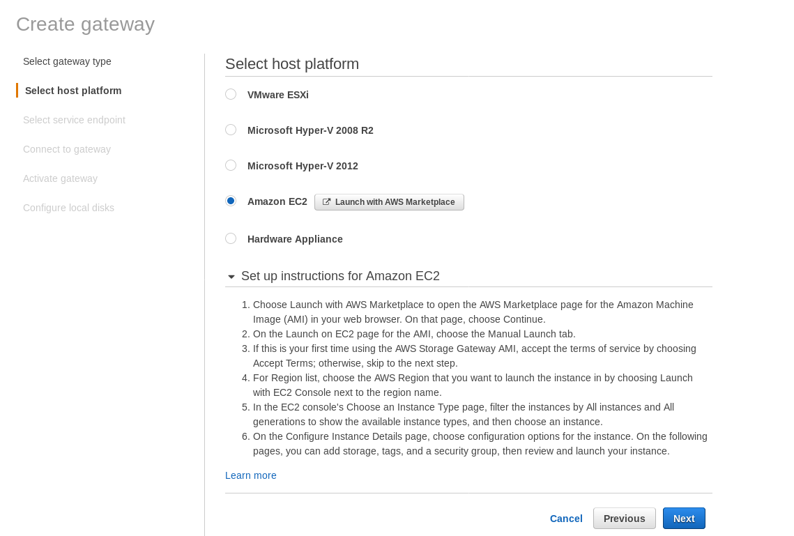 AWS Storage Gateway: Volume gateway Amazon EC2 setup