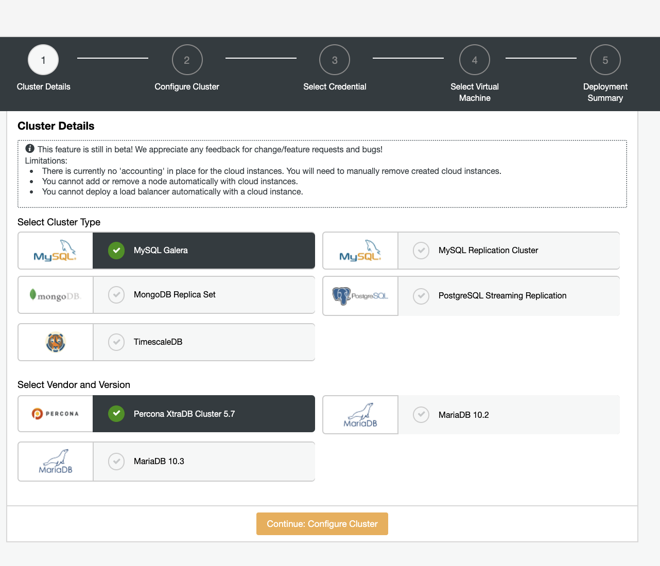 ClusterControl: Deploy various database systems in the cloud
