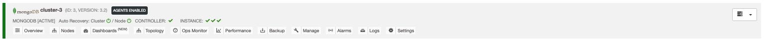 ClusterContorol Dashboard Status