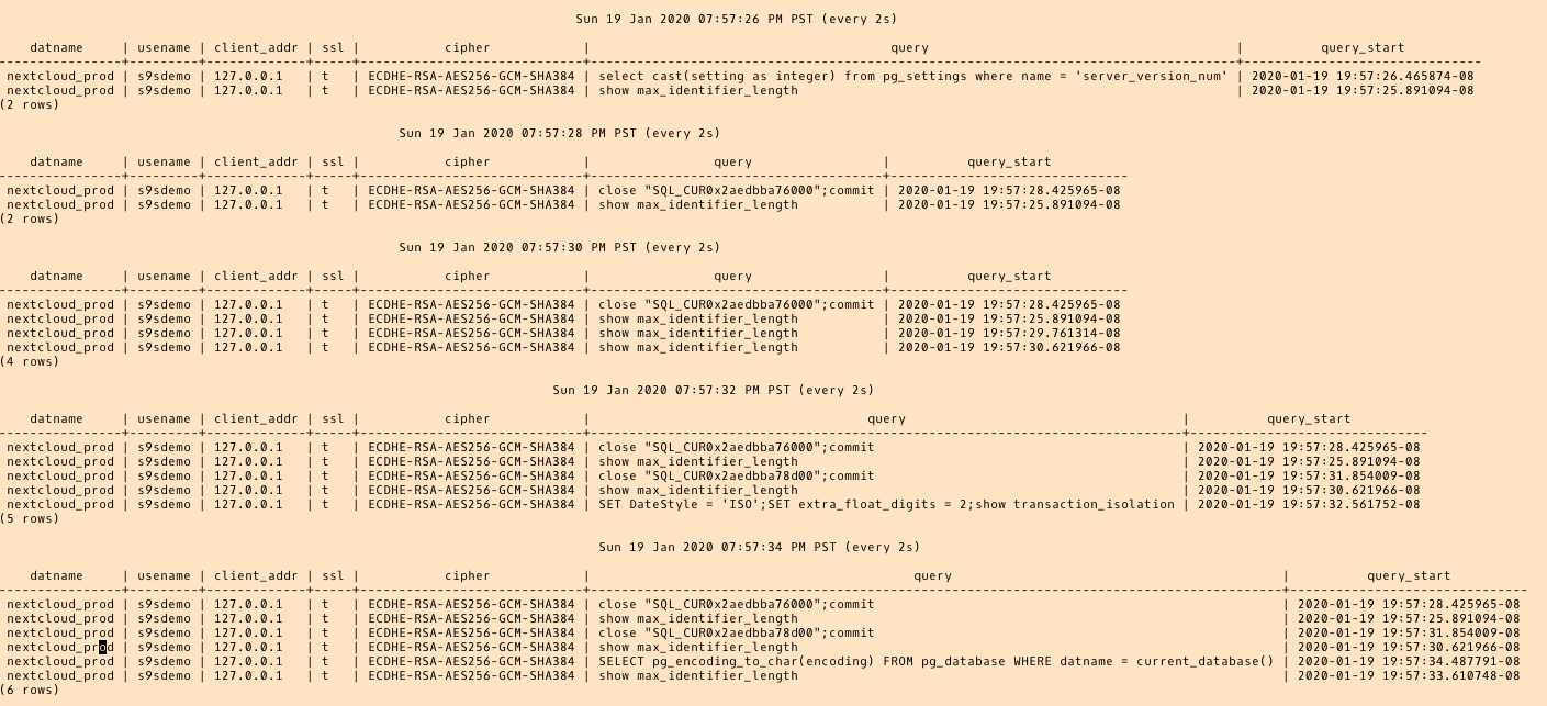 psql: `\watch'-ing the AWS DMS queries.