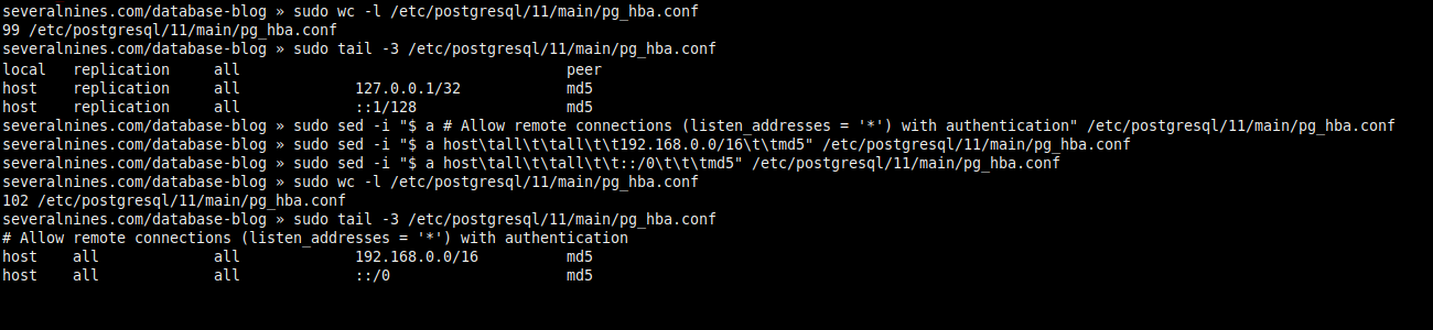 2.4. Changing access permissions (pg_hba.conf).