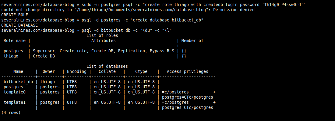 2.2. The owner of the database isn't the superuser postgres.