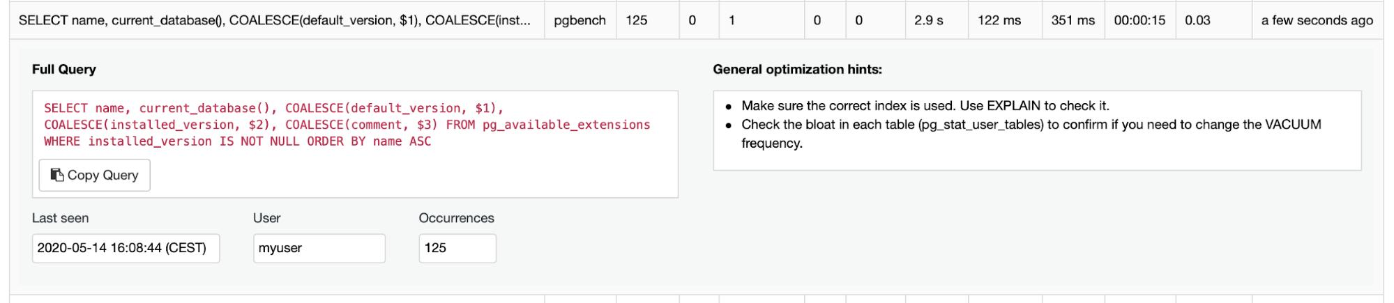 PostgreSQL Query Management ClusterControl